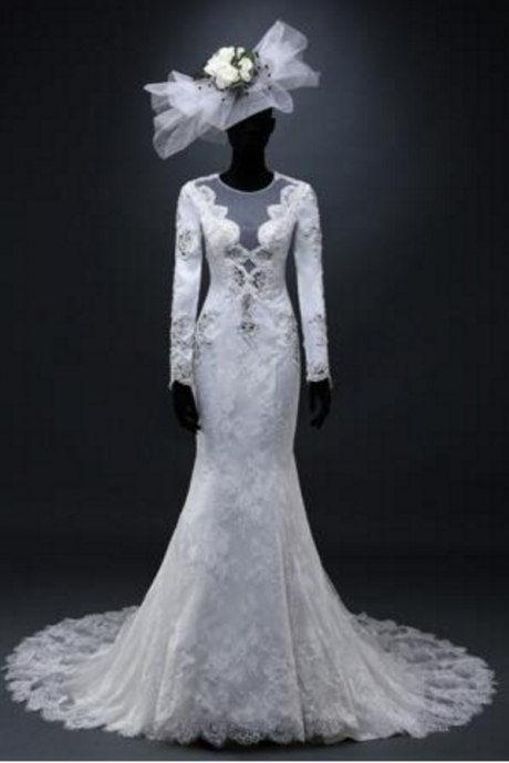 Exclusive Custom Real Picture Vintage Noble Luxury Scoop Full Appliques Beading Lace Mermaid Wedding Dresses Autumn New