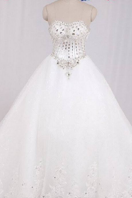 real sample luxury crystal beaded sweetheart lace chapel train princess wedding dress