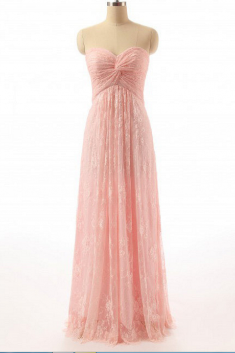 Pink A-Line Prom Dress,Lace Prom Dress,Sweetheart Prom Dress, Charming Prom Dress