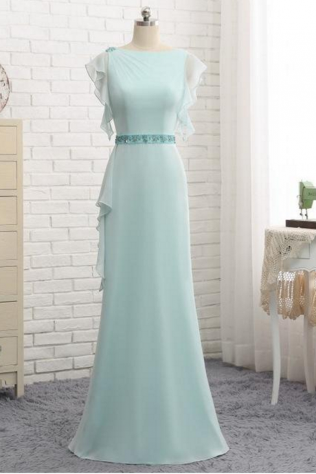 Tiffany Blue Puffy Sleeve Evening Prom Dresses, Popular Unique Party Prom Dress, Custom Long Prom Dresses, Cheap Formal Prom Dresses