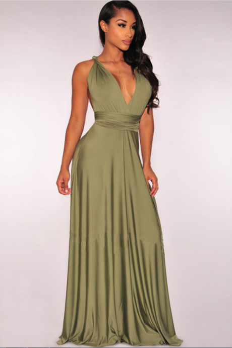 An oliva v-neck back dress, a glamorous gown, a sexy dress, a beautiful evening gown