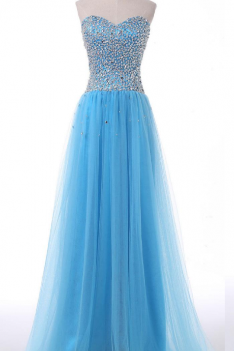 Sweetheart Prom Dresses,Formal Dresses ,Sky Blue Party Dress
