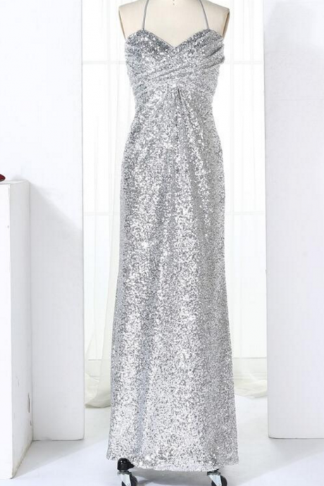 Sliver Halter Sequins Party Dresses, Long Prom Dresses , Formal Gowns