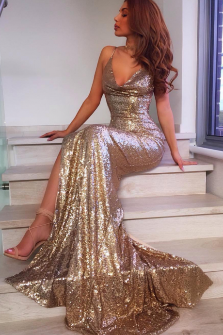 V Neck Mermaid Gowns,Long Sequins Prom Dress,Glitter Bridesmaid dresses