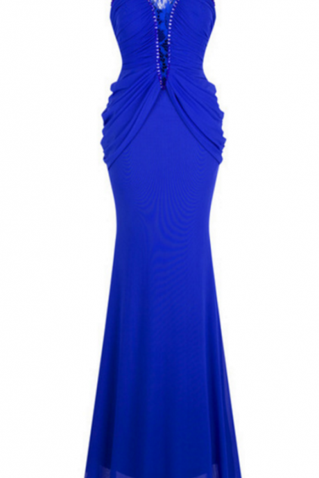 A formal evening dress with a v-neck, necklaces, and a pleated mermaid court evening gown