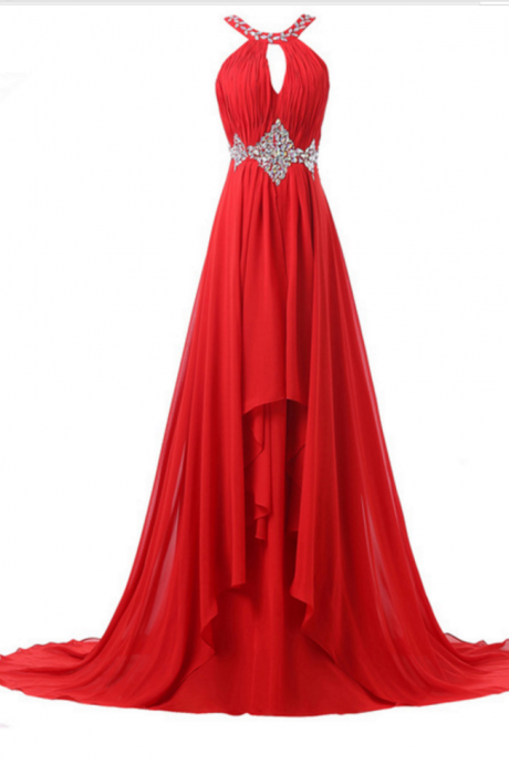 A red, elegant formal ball gown with a bridesmaid dress in a special occasion