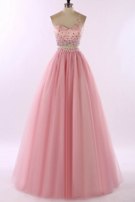 One Shoulder A-line Tulle Prom Dresses Crystals Floor Length Women Dresses