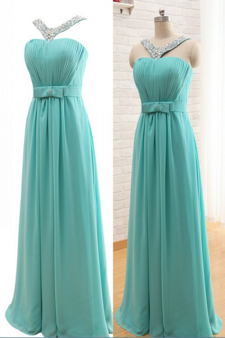 Charming Long Chiffon Prom Dresses Halter Neck Crystal beaded Floor Length party Dresses