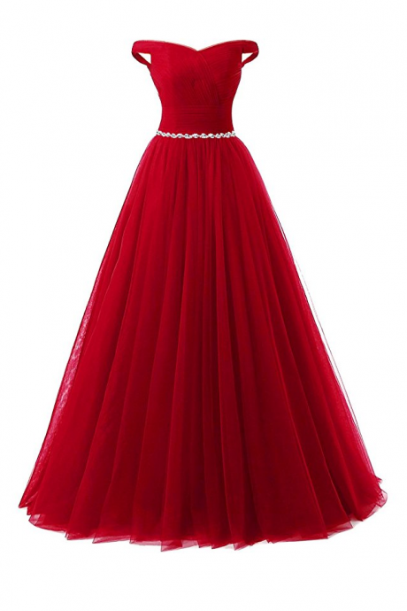 Red Prom Dress Sexy Lace-Up Tulle Evening Dresses Party Dresses Robe De Soiree Formal Gowns