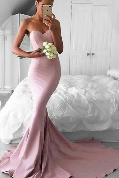 Sexy Prom Dress, Pink Prom Dresses,Mermaid Evening Dress, Long Evening Dresses, Satin Formal Dress