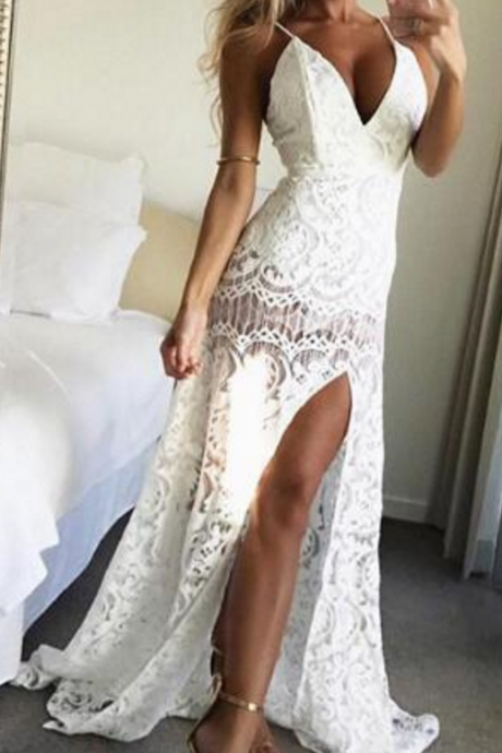 Sexy White Prom Dress Evening Dress A-line Halter Lace Long Prom Dresses Evening Dresses Formal Dress