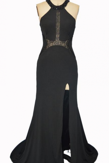 Unique Jewel Neck Evening Dresses Sexy Split Mermaid Formal Prom Gowns Sweep Train Black Lace Long Party Dresses Vestidos