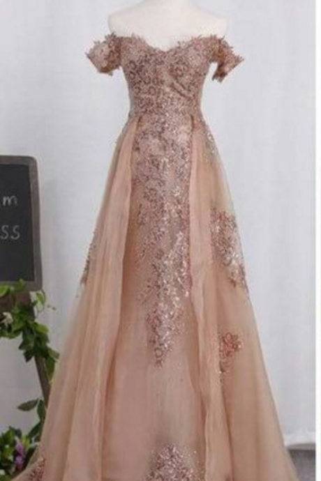 Long Tulle Prom Dress,Lace Appliques Prom Gowns,Court Train Evening Gowns, Prom Dress Prom Dresses