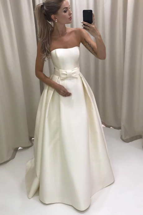 Simple Strapless Ivory Satin Wedding Dress Bridal Gown with a Bow,long prom dress