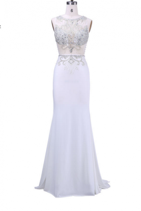 Long Evening Dresses New Arrival Formal Dresses With Scoop-Neck Thank-Sleeve Crystal Beading Floor Length Prom Dreesses