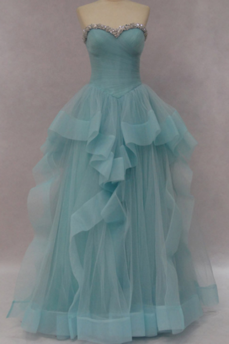 Light Green Tulle Sweetheart Prom Dress With Layer Skirt
