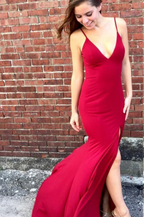 Sexy Straps V Neck Mermaid Long Red Prom Dress with Slit