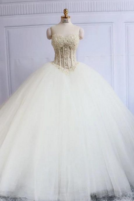 Luxury Wedding Dress, Ball Gown Wedding Dresses.with Pearls Bridal Dress, Tulle Long Bridal Gown