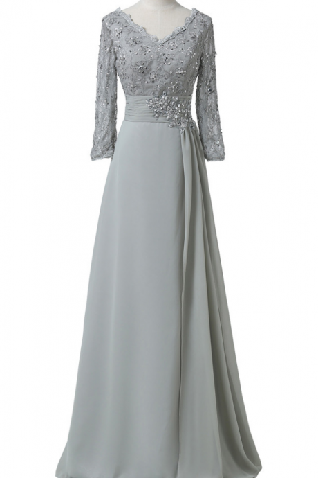 Silk chiffon bride's mother's double wedding gown, the fifth floor, four sleeves, grey, grey, formal mother ball gown