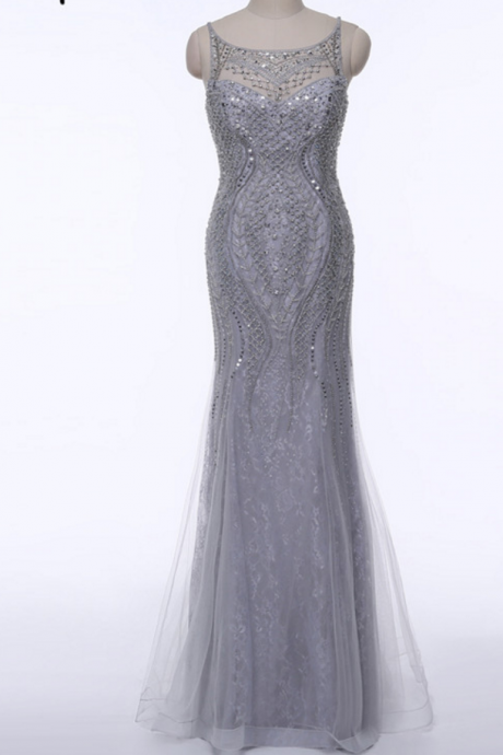 Grey evening sexy dubai PROM dresses, evening luxury crystal party dress mermaid real photos