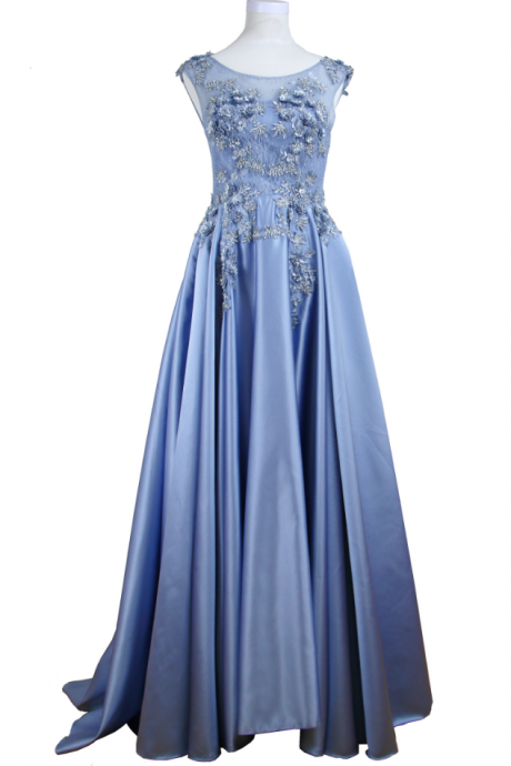 Appliques lace flower blue! Sleeveless dress formally intermittently using evening gown for a long time in the evening party