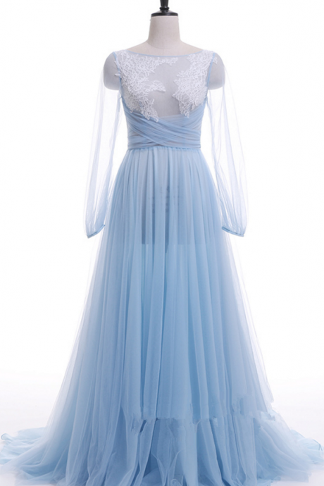 Blue party neck is very low, long sleeve evening dress open formal party dress