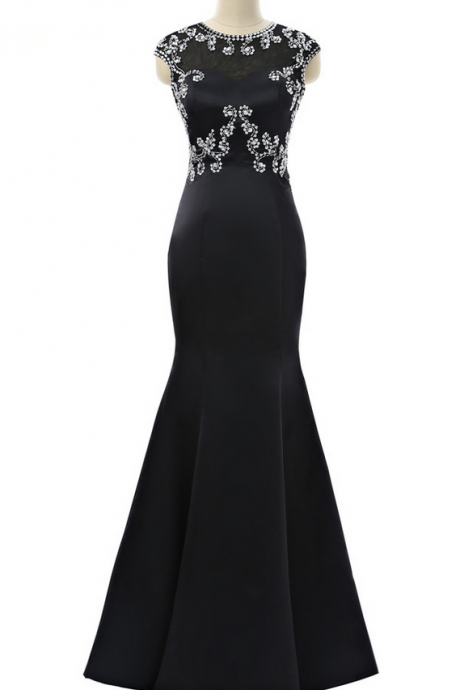 Black Prom Dresses Mermaid Cap Sleeves Open Back Beaded Crystals Sexy Women Long Prom Gown Evening Dresses Robe De Soiree