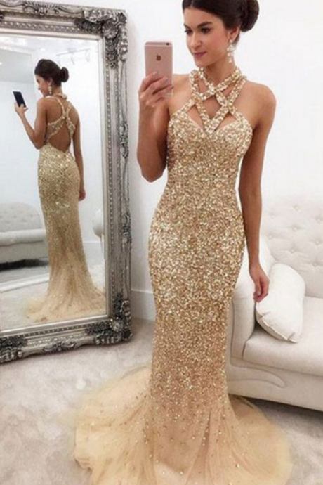 Champagne Beaded Mermaid Prom Dress,Long Evening Dress,Tulle Open Back Prom Dresses