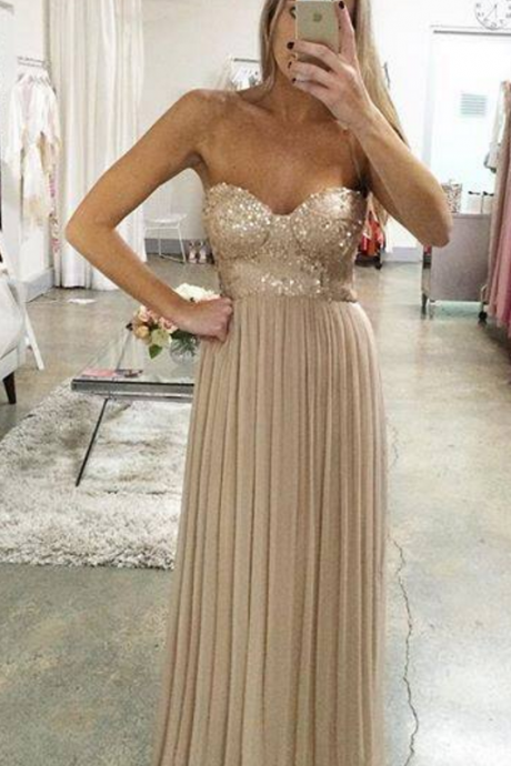 A line Empire Prom Dress,Champagne Evening Dress,Sequins Bridesmaid Dress