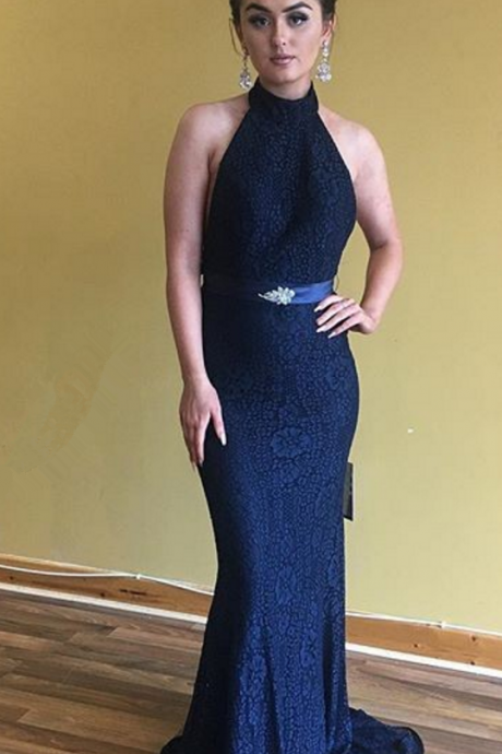 Mermaid Navy Blue Prom Dress,Mermaid Open Back Evening Dress,Sexy Open Back Graduation Dress,Mermaid Navy Blue Lace bridesmaid Dress
