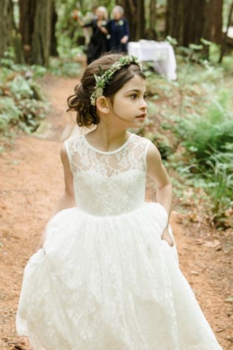 New Fashion Flower Girl Dresses .Flower Girl Dresses.White Flower Gril Dresses.White Lace Flower Girl Dresses