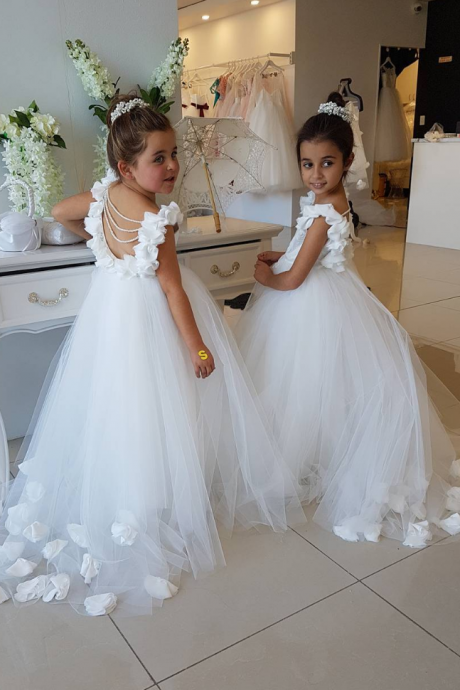 Opening Back White Tulle Flower Girls Dresses 3D Flowers Peals Puffy First Communion Gowns For Girls Princess Pageant Dress