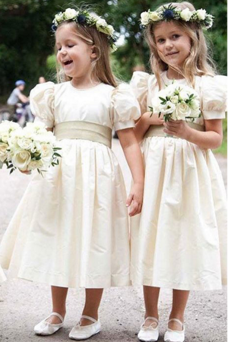 Lovely Ball Gown Flower Girl Dresses New Girls Pageant Gown First Communion Dresses with Short Puffy Sleeves Tea Length Kids Dress for Weddings
