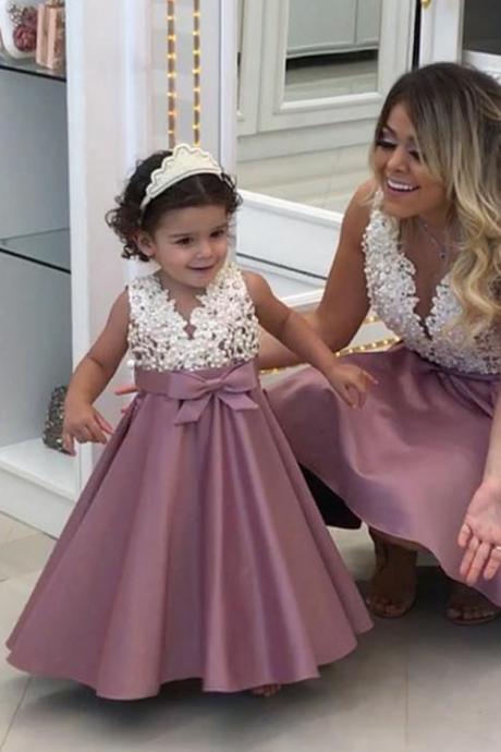 New Ivory Blush Pink Flower Girl Dresses A Line Lace Appliques Girls Formal Party Gowns Girls Birthday Christmas Party Dresses