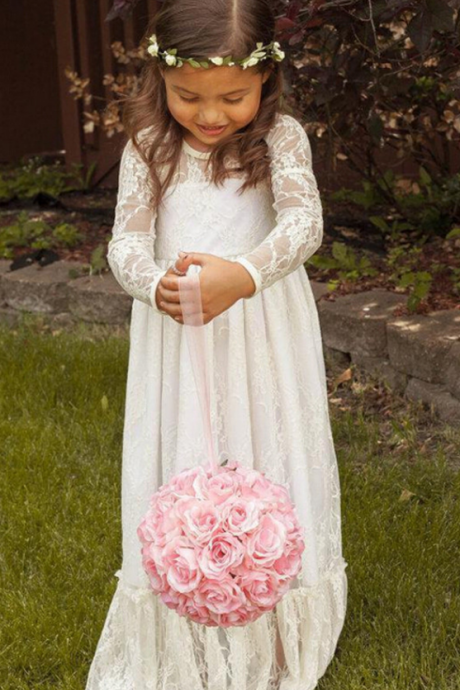 Vintage High Quality Flower Girl Dresses,White Flower Girl Dresses,Full Sleeves Flower Girl Dresses, Long Girls First Communion Dresses, Custom Made Girl Dress for Girl