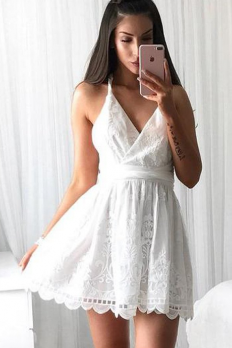 Short Homecoming Dress, Lace Homecoming Dress, New Arrival Homecoming Dress, Backless Junior School Dress, Criss-Cross Straps Graduation Dress, Knee-Length Homecoming Dress,