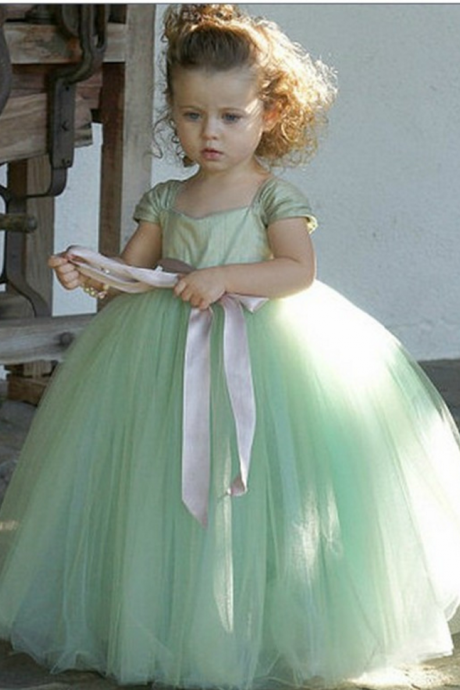 Formal Cap Sleeve Flower Girl Dresses Long Ball Gown Kids Wedding Party Dresses