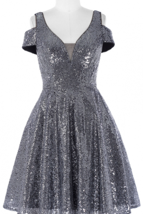 Short Sequin Cocktail Dresses Mother of the Bride Banquet Dress Dark Grey Shiny Cocktail Dress Party Dresses