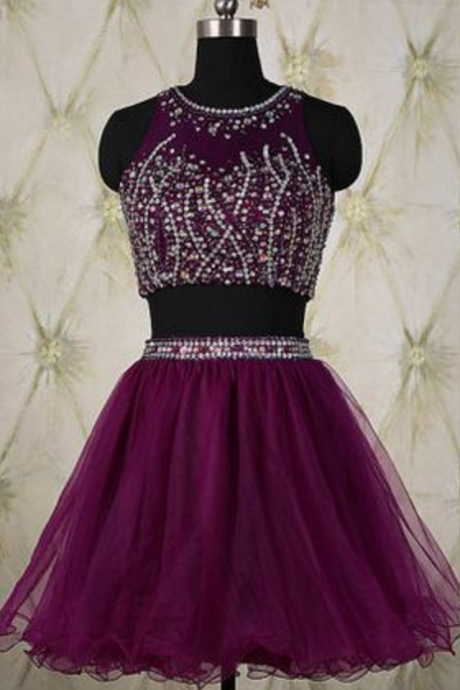 Elegant Two Pieces Homecoming Dresses,Purple Homecoming Dresses,Sexy Homecoming Dresses,Beaded Formal Dresses,Short Two Pieces Party Dresses,Tulle Graduation Dresses,Sparkle Dresses