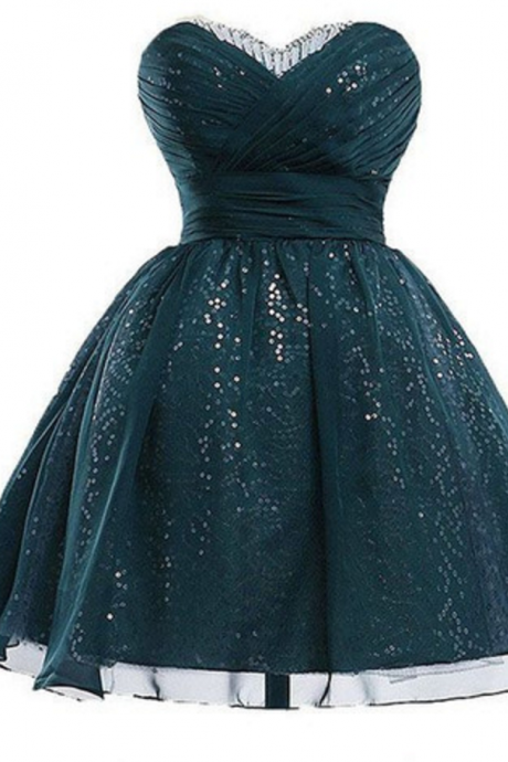 Sequinned Embellished Ruched Sweetheart Short Homecoming Dress