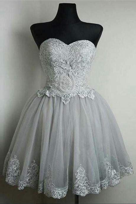 Fashion Dresses,Gray Homecoming Dresses,Short Homecoming Dress,Sweet 16 Dresses,Lace A-line Homecoming Dresses