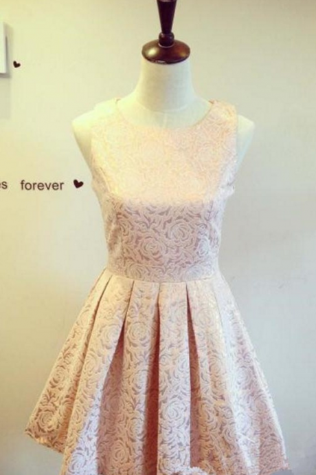 Formal Lace Cocktail Dresses,Pretty Pink Homecoming Dresses,Handmade Homecoming Dress For Teens