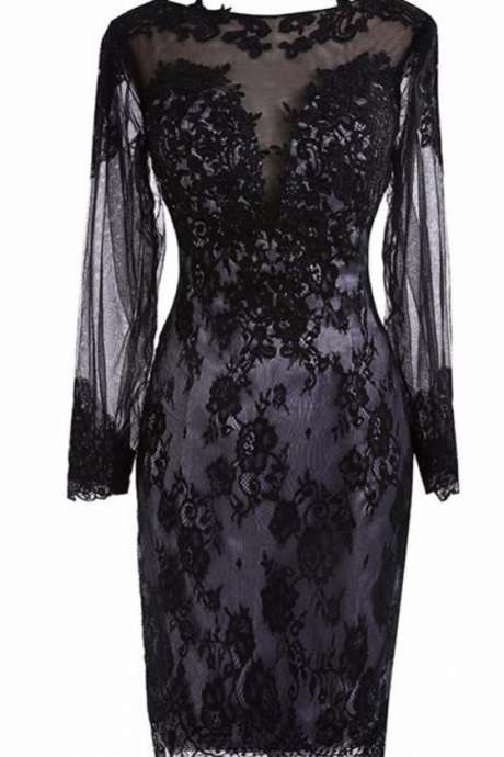 Real Photos Black Lace Short Homecoming Dresses See Through Back Full Sleeves Formal Women's Prom Party Gowns Vestido de Festa