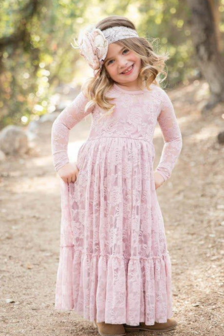 A-Line Lace Flower Girl Dresses Ankle Length Jewel Neckline Long Sleeves Toddler Pageant First Communication Dress High Quality