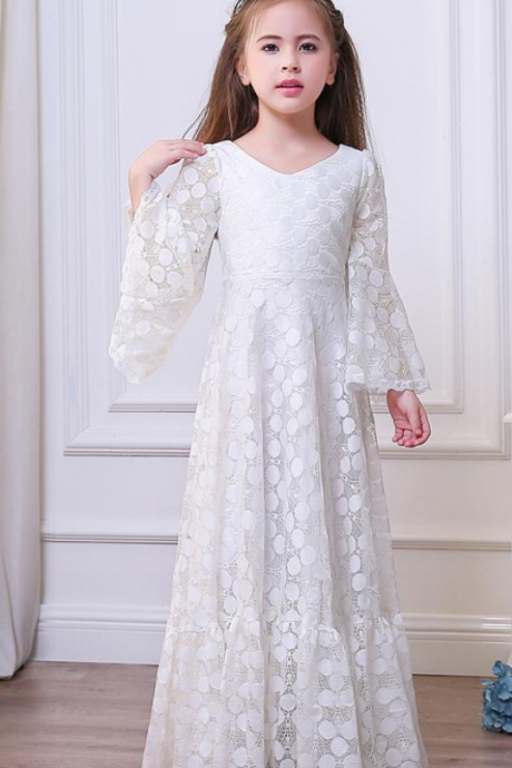 Custom Made White Long Trumpet Sleeve Lace A-Line Evening Dress, Kids Clothing, Party Frock, Flower Girl Dresses, First Holy Communion Dresses, Pageant Dress