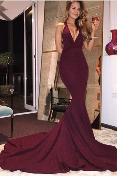 Gorgeous Wine Red Chiffon Prom Dress Burgundy Mermaid Prom Dresses