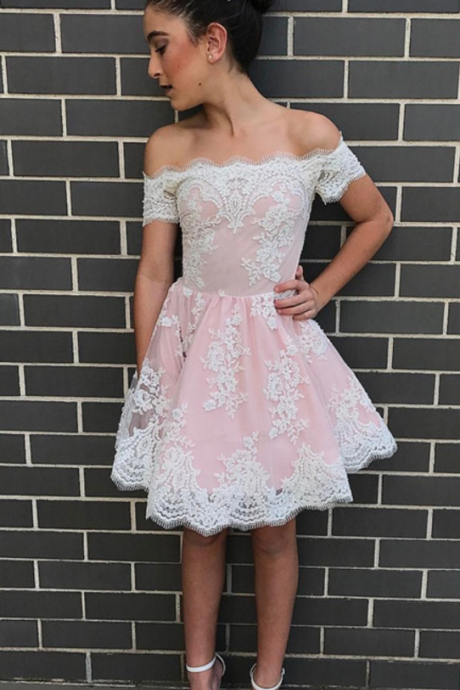 elegant homecoming dress,lace appliques prom dress,short prom dresses ,off shoulder prom gowns
