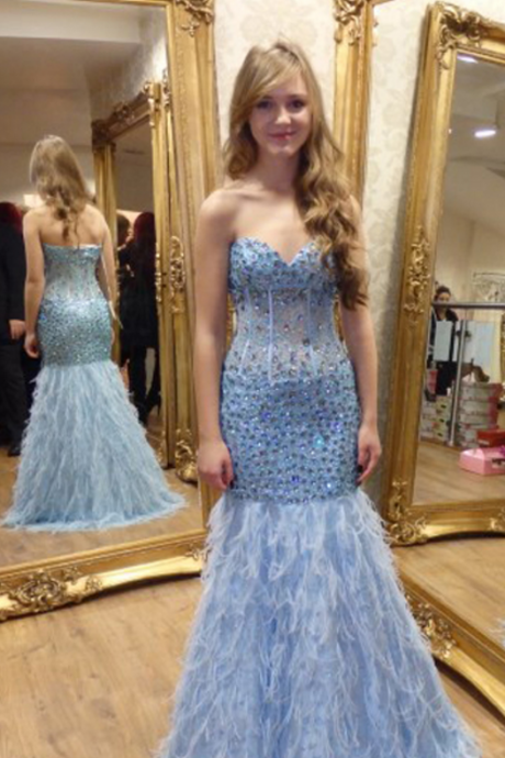 Prom Dress,Evening Dresses, Prom Dresses,Party Dresses,Prom Dress, Prom Dresses, Prom Dresses,Sexy Sweetheart Light Blue Feathers Mermaid Prom Dresses Long Beaded Crystal vestidos de fiesta Formal Gowns,Floor-length Prom Dresses,Wedding Guest Prom Gowns