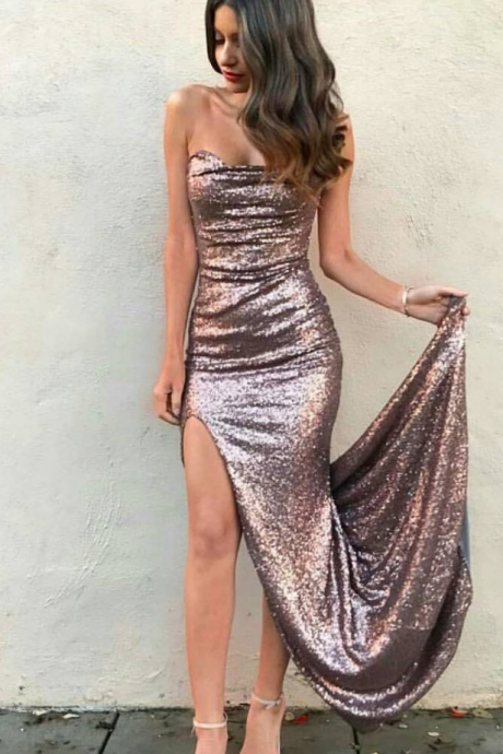 Sexy Sheath Strapless Split Front Sequined Long Prom Dress