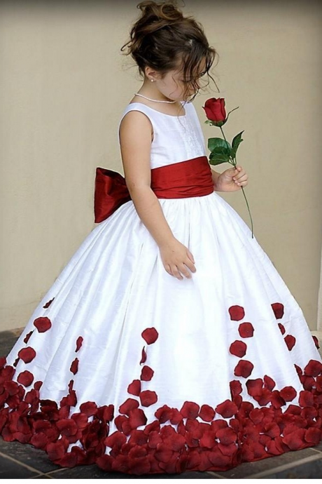 Pretty Flower Girl Dresses Red And White Bow Knot Satin Ball Gown Little Girl Party Holy Communion Dresses Pageant Gowns Kids